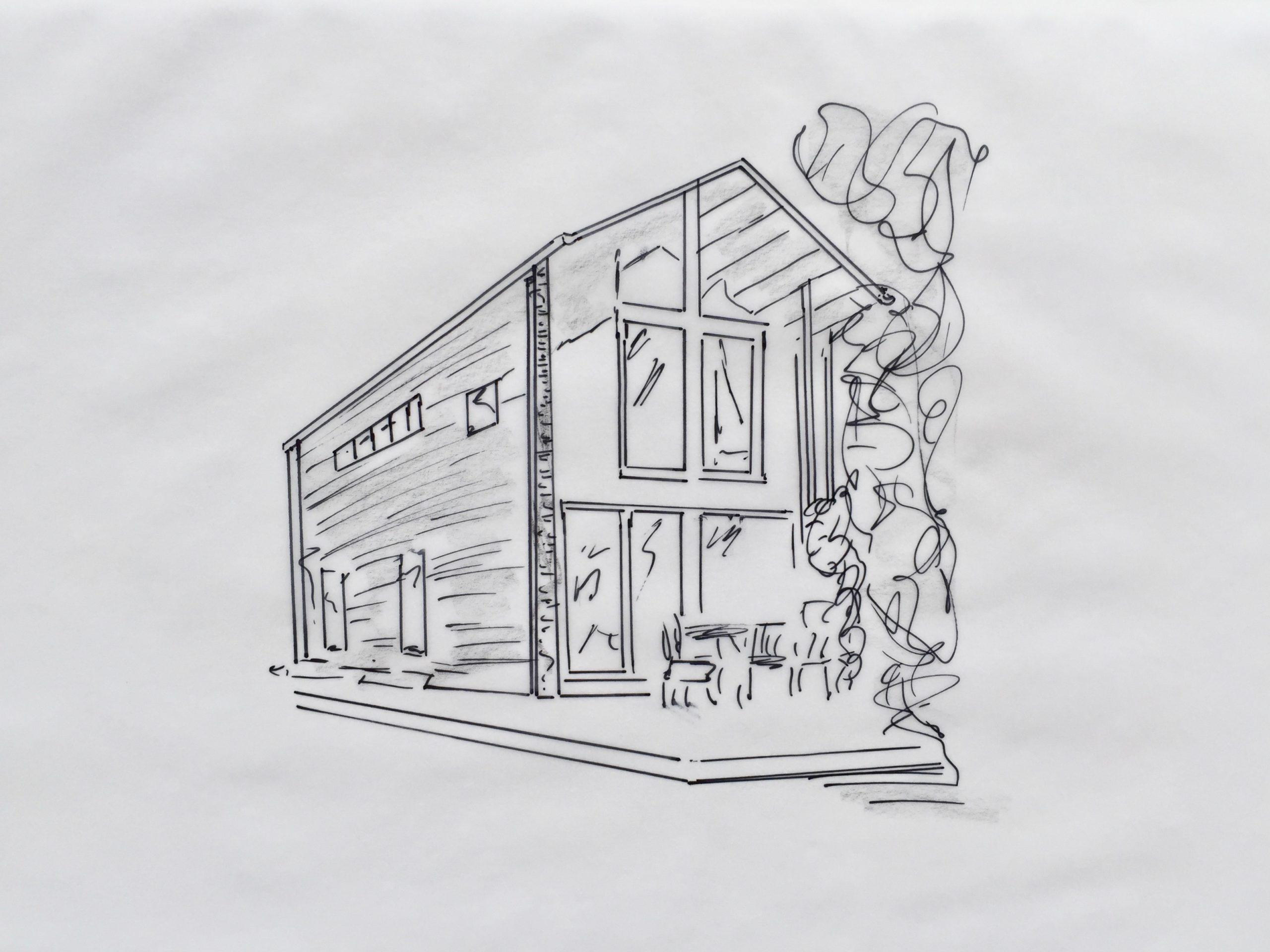 Skizze: Kleines Haus mit cleverer Raumlösung –perfekt zu zweit (im Alter), wenn das Grundstück schmal oder der Preis dafür hoch ist.