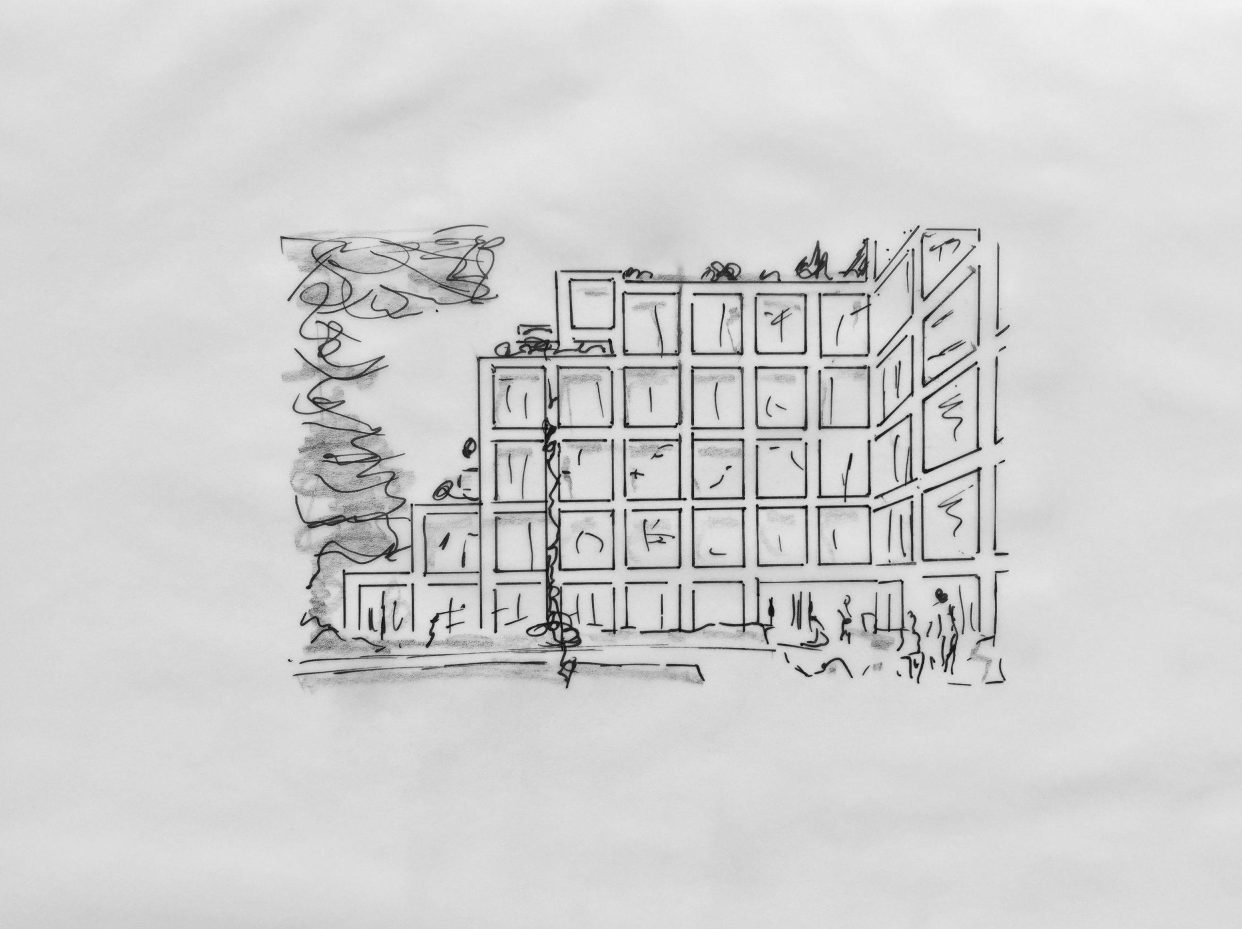 Baufinanzierung –Skizze: Eigentumswohnung in moderner Anlage –bei geschickter Finanzierung ist ein Kauf auch in der Stadt möglich.