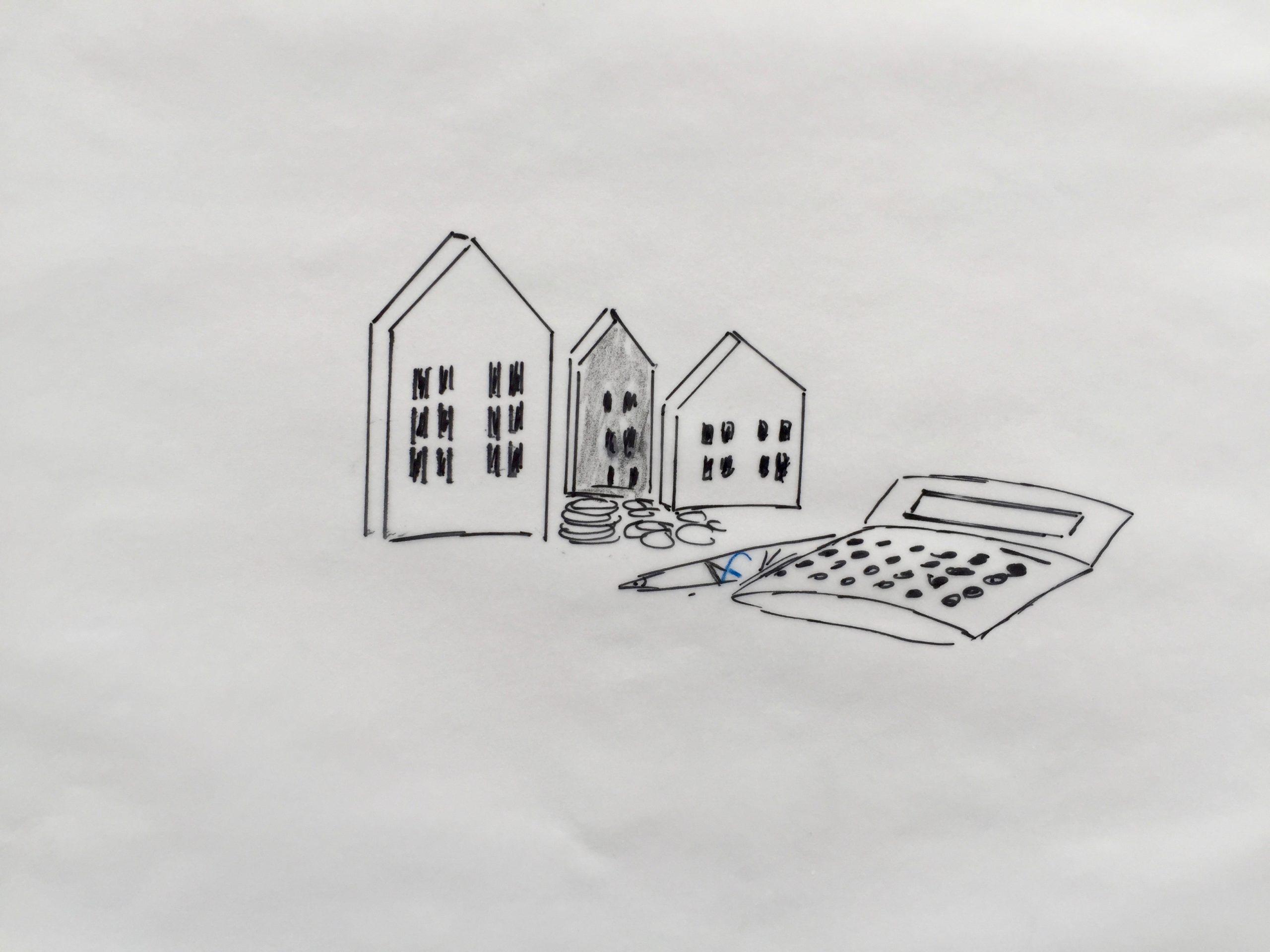 Baufinanzierung –Skizze: Verschieden große Häuser, Geldstücke & Taschenrechner. Verschaffen Sie sich einen ersten Überblick mit Baufinanzierungsrechner der FinanzKanzlei Bayern.