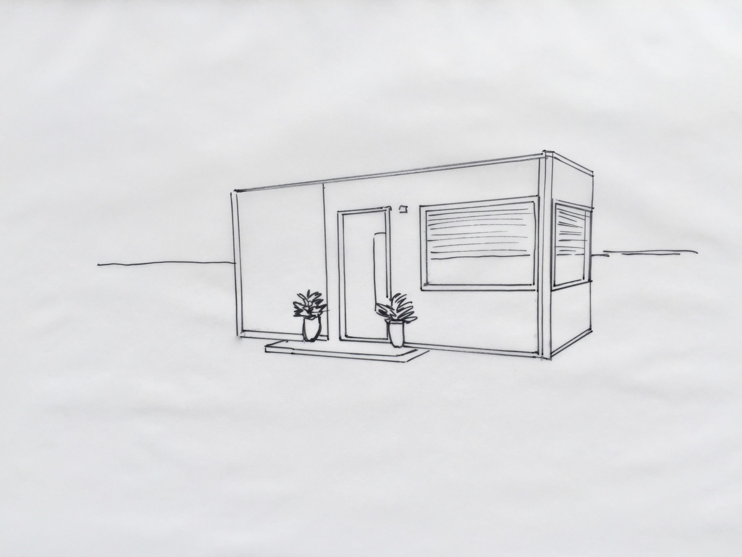 Skizze: Ein »Tiny House« bauen ist vielleicht die Lösung für Singles, bei Platzmangel in der Stadt, kleinem Budget ... Rechnen Sie bei der FianzKanzlei Bayern mit Alternativen.
