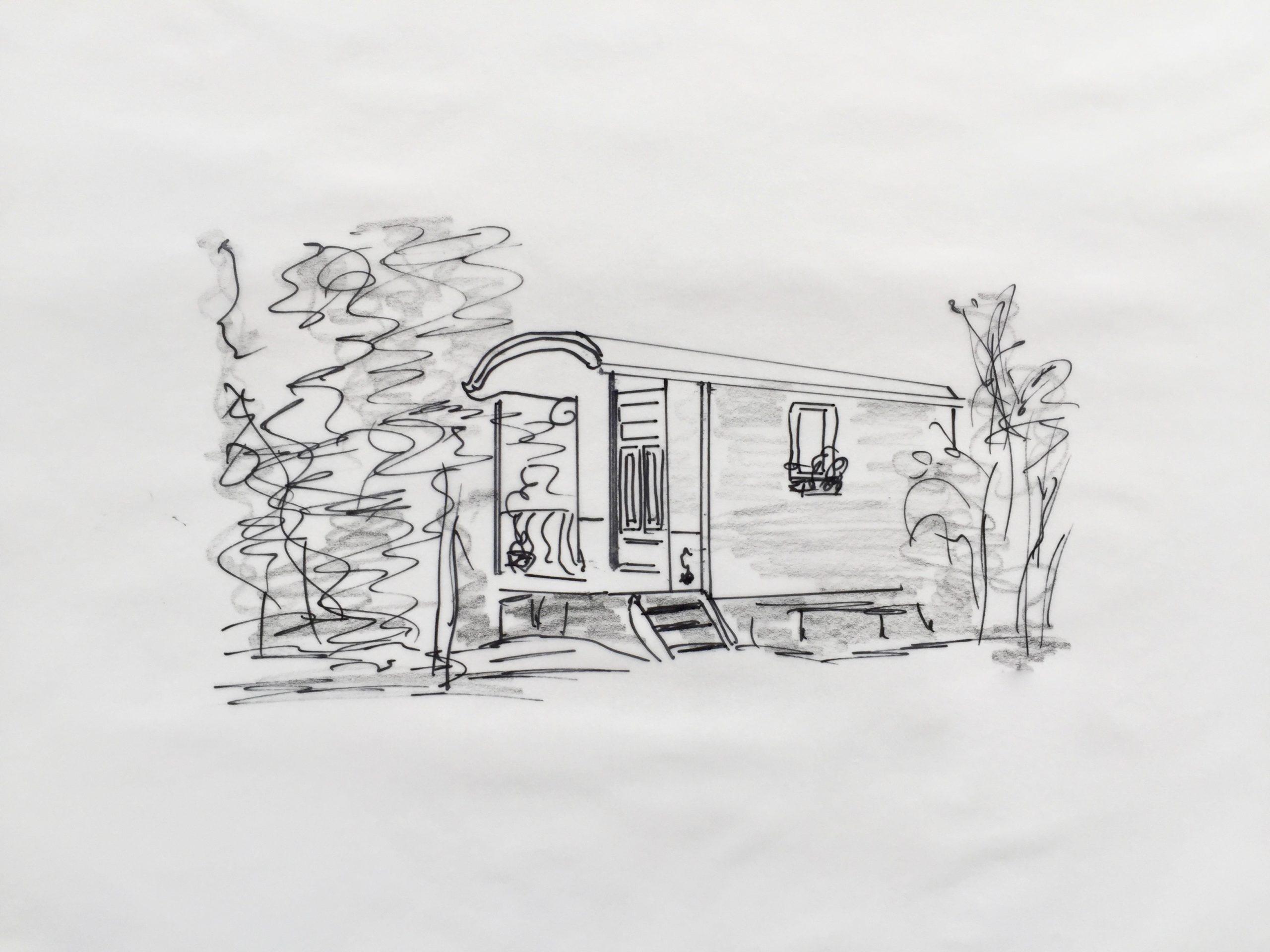 Skizze: Ein Wohnwagen im Grünen –sprich wenig Haus fürs Geld ? Kann schon passieren, weil die Hausbank bei Finanzierung nicht in Optionen denkt.