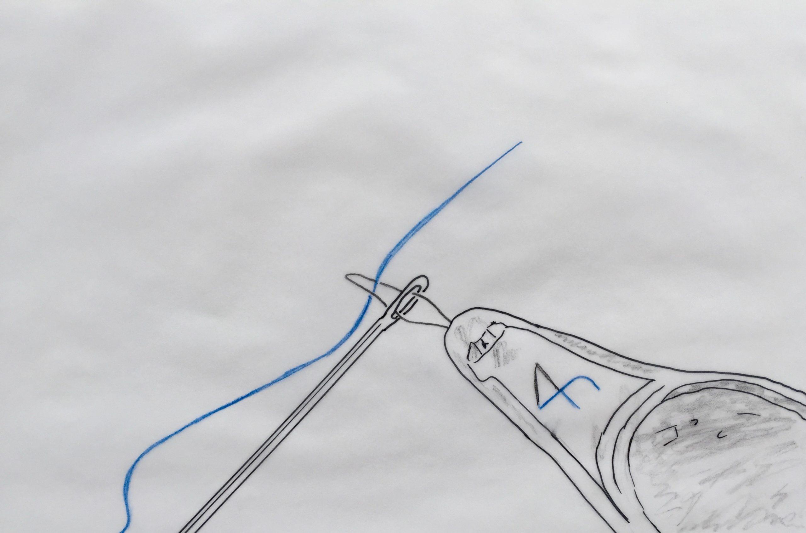 Baufianzierung –Skizze: Faden –Nadelöhr –Einfädelhilfe liegen bereit. Bereiten Sie mit Hilfe der FinanzKanzlei Bayern die Finanzierung im Detail vor.