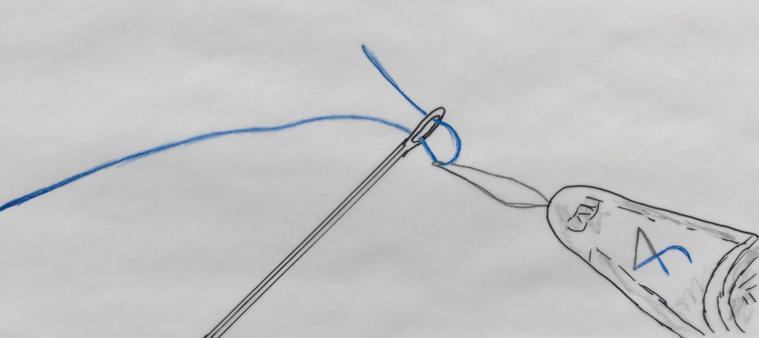Skizze: Faden, der mit Einfädelhilfe durchs Nadelöhr gleitet. Die FinanzKanzlei Bayern fädelt geschickt eine individuelle Finanzierungslösung für Sie ein.
