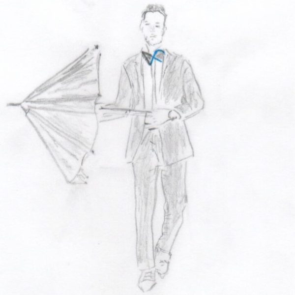 Mann mit Schirm - als Symbol für Wohngebäude- / Naturgefahren-Versicherung
